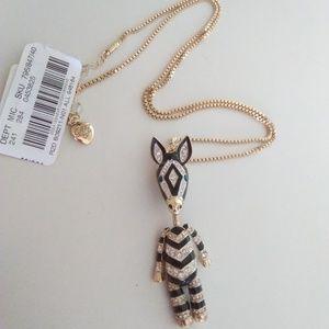 Betsey Johnson New Black & Silver Zebra Necklace